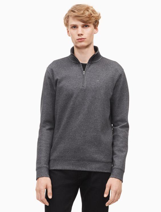 New Essentials Regular Fit Solid Logo Zip Sweater by Calvin Klein