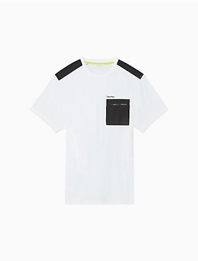 Image of Solid Nylon Zip Pocket Crewneck T-Shirt