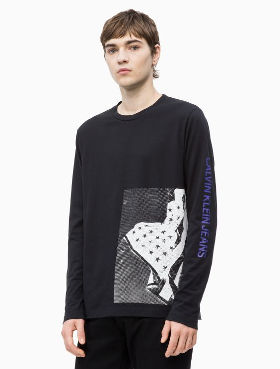 Regular Fit Flag Print Long Sleeve Tee by Calvin Klein
