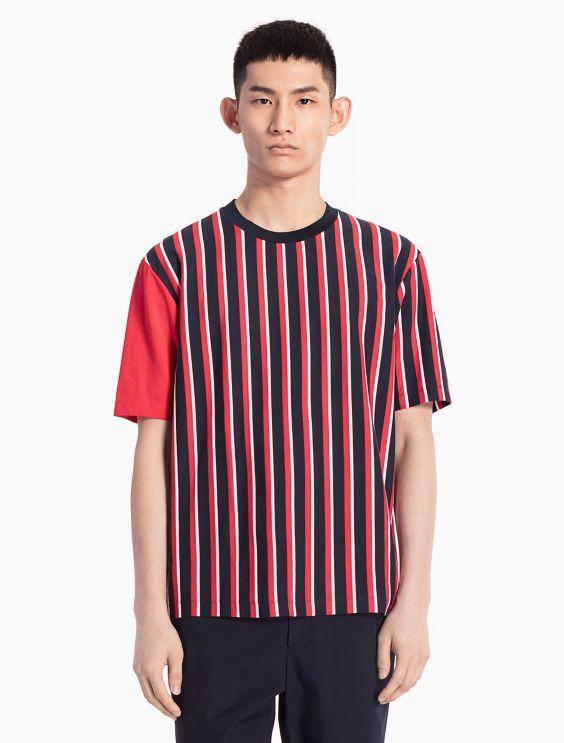 contrast stripe T-shirt - White Calvin Klein