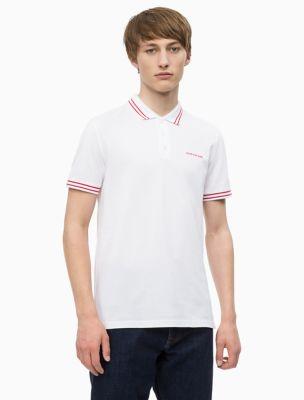 slim fit striped logo polo shirt