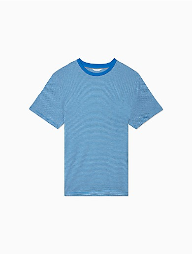styled with horizontal feeder stripes, this short sleeve t-shirt is made with extra soft pima cotton, a crewneck and a straight hem for a versatile, sportswear must-have.
