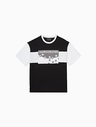 d93ea267f74cb8 Boxy Fit Colorblock Stars Stripes Logo T-Shirt