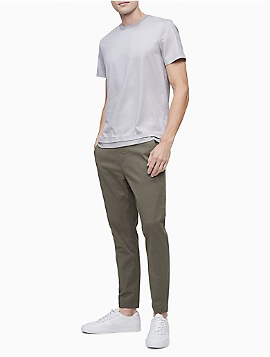 Image of Liquid Touch Double Layer Microstripe Crewneck T-Shirt