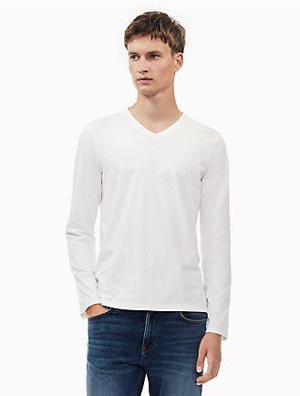 a9ecef110bd new essentials slim fit v-neck long sleeve shirt