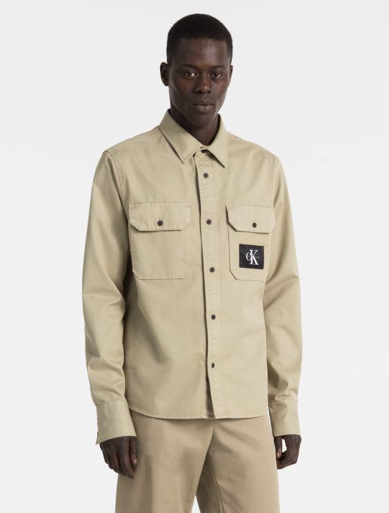 Regular Fit Cotton Twill Monogram Logo Work Shirt