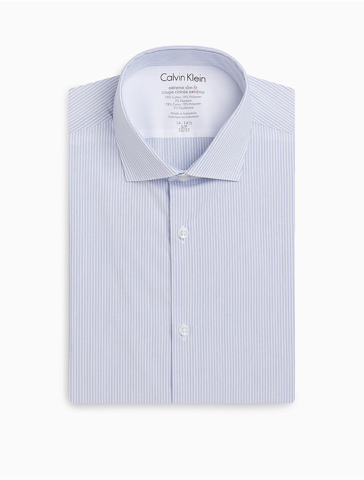X Fit Ultra Slim Fit Blue White Plaid Dress Shirt Calvin Klein