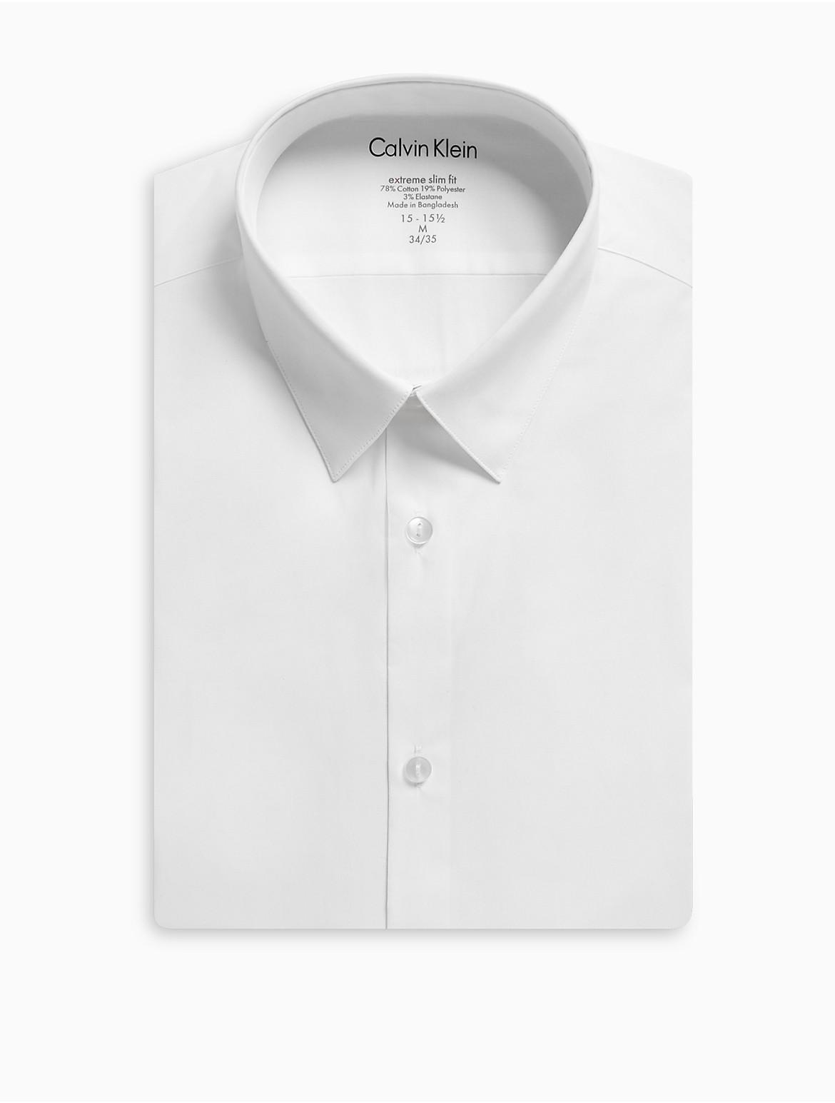 X Fit Ultra Slim Fit Solid Dress Shirt Calvin Klein