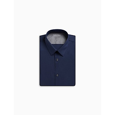 Extreme Slim Fit Solid Point Collar Temperature Regulation Dress Shirt