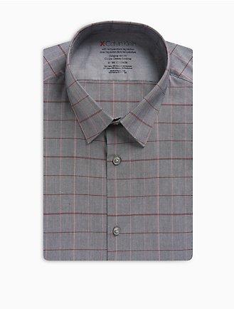 914ac287e95e Extra Slim Fit Grey Red Plaid Temperature Regulation Dress Shirt