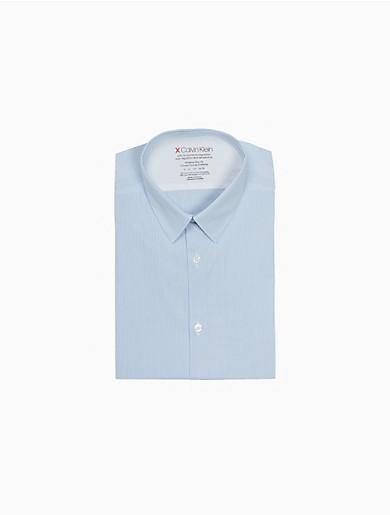 Image of Extreme Slim Fit Striped Temperature Regulation Dress Shirt