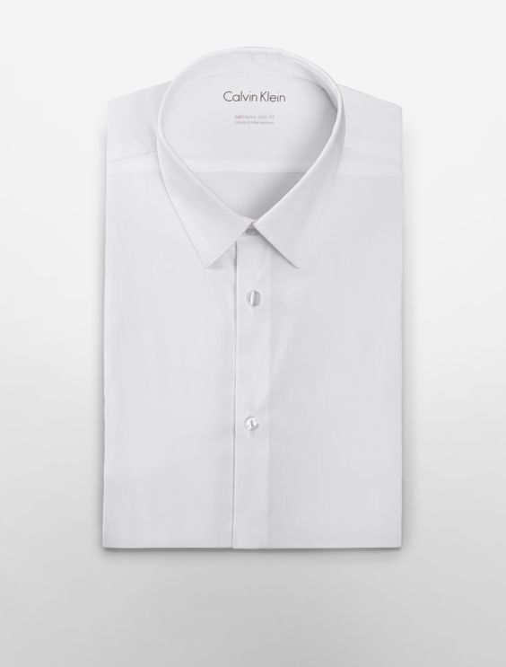 X Fit Ultra Slim Fit Solid Dress Shirt by Calvin Klein