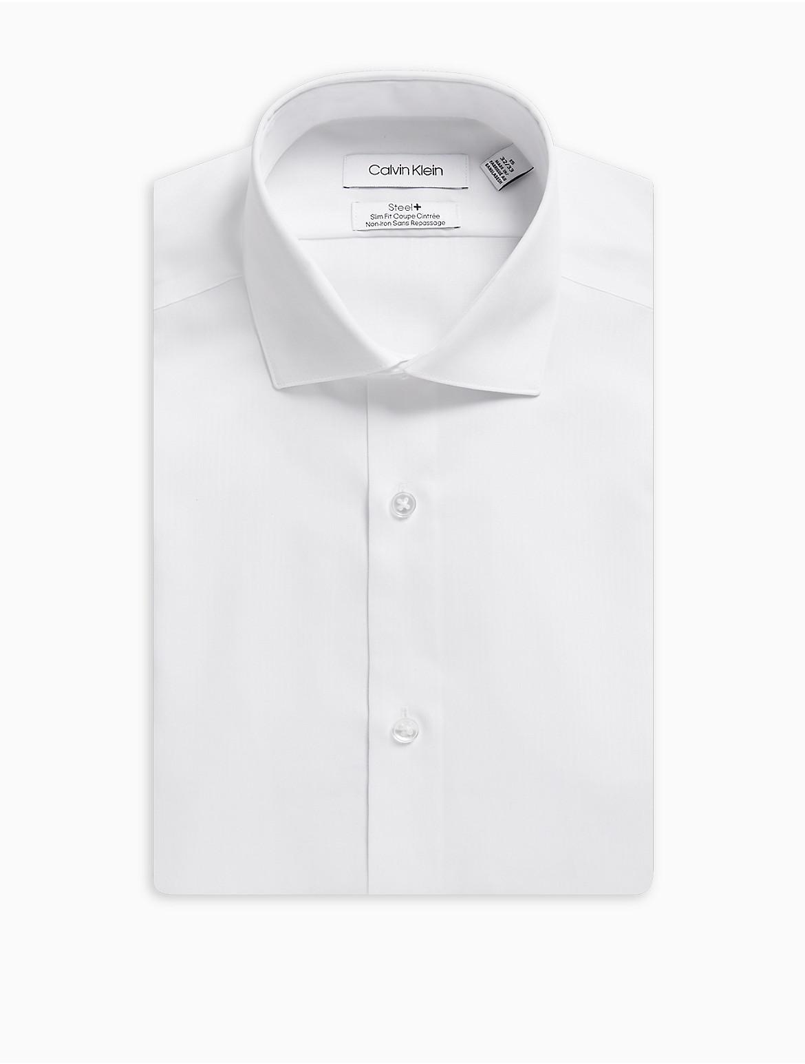 Steel Slim Fit Bedford French Cuff Non Iron Dress Shirt Calvin Klein