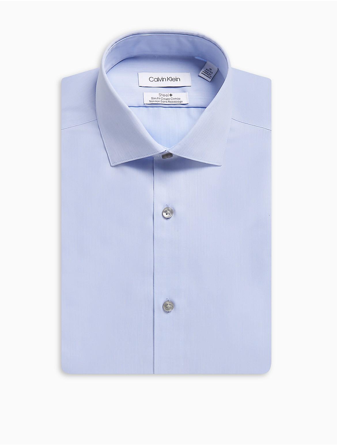 Steel Slim Fit Solid Herringbone Dress Shirt Calvin Klein