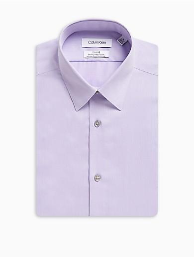 Image of Slim Fit Herringbone Point Collar Performance Non-Iron Dress Shirt