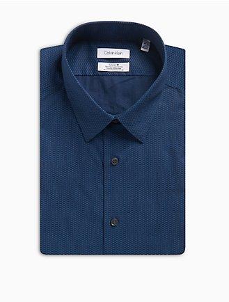 e05328de08 Slim Fit Blue Dash Print Performance Non-Iron Dress Shirt
