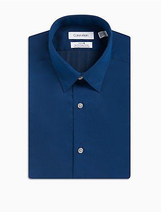 e3caa91010 Slim Fit Blue Micro Herringbone Performance Non-Iron Dress Shirt