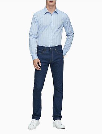 6fc0248fba Slim Fit Blue Plaid Performance Non-Iron Dress Shirt