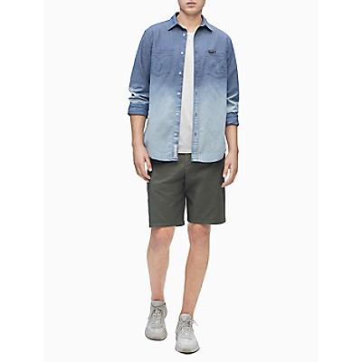 Dip-Dye Chambray Button-Down Long Sleeve Shirt