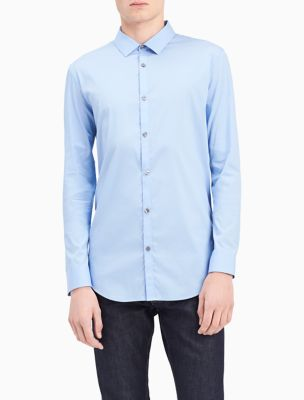 slim fit infinite stretch chambray shirt