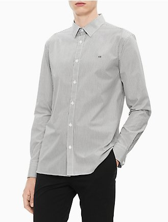 00980545f5b7 New Essentials Slim Fit Striped Logo Button Down Shirt