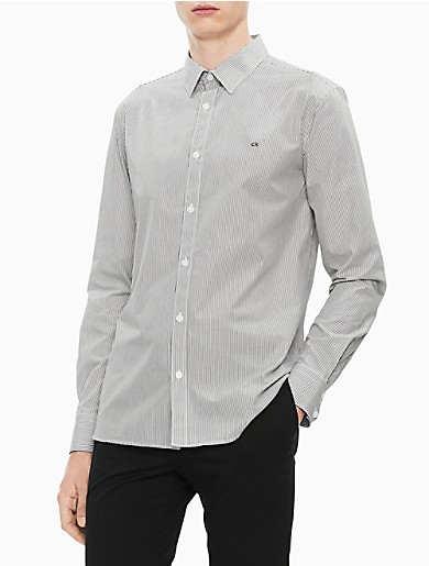 Image of Slim Fit Striped Logo Button Down Shirt