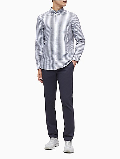Image of Slim Fit Stretch Cotton Striped Oxford Shirt