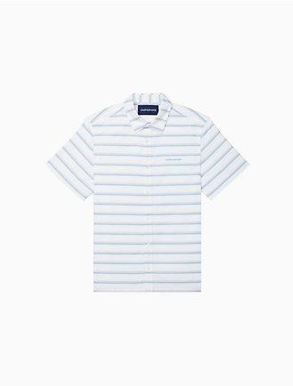 158a7411c7 Regular Fit Chambray Stripe Short Sleeve Shirt