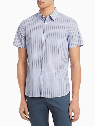 87e2181c825 Classic Fit Space-Dyed Stripe Short Sleeve Shirt
