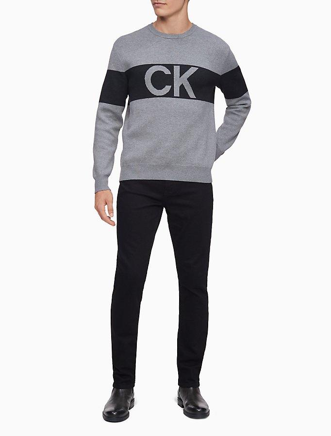 Ck One Cotton Modal Jacquard Sweater by Calvin Klein