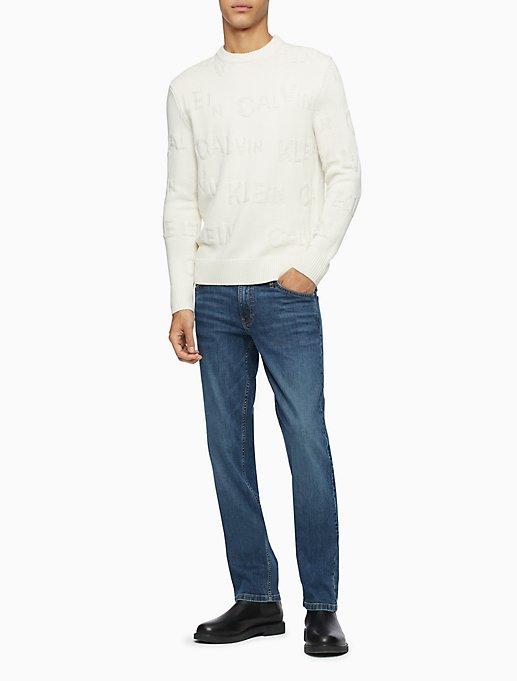 Regular Fit Textured Logo Crewneck Sweater by Calvin Klein