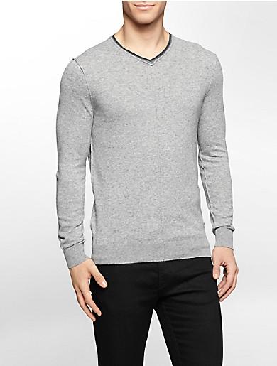 Image of marble heathered v-neck sweater