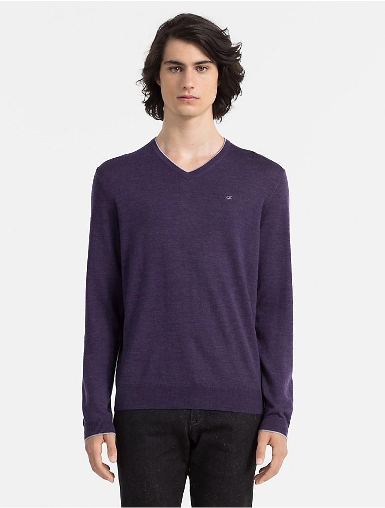 calvin klein mens slim fit merino wool logo v-neck sweater | eBay