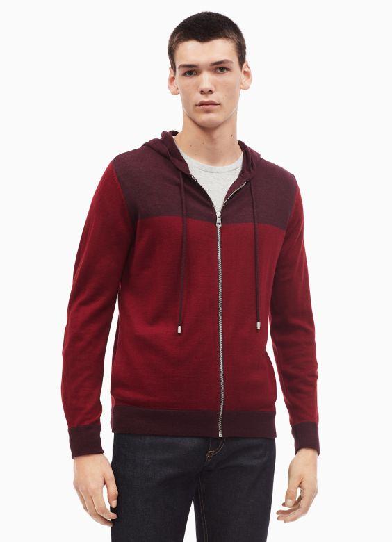 Merino Wool Blend Colorblock Zip Hoodie by Calvin Klein