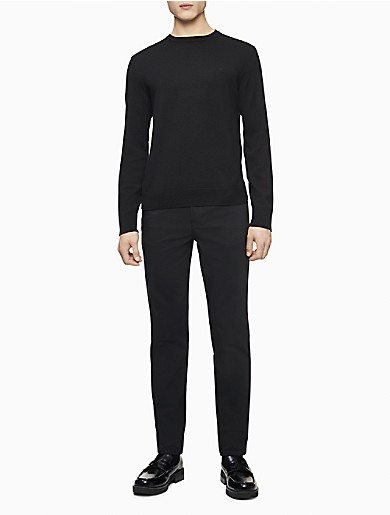 Image of Merino Wool Solid Crewneck Sweater