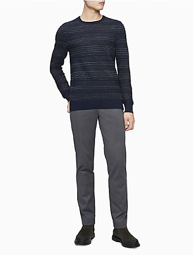 Image of Merino Wool Blend Heather Stripe Crewneck Sweater