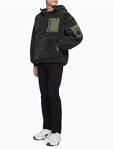 Image of Zebra Monogram Logo Sherpa Jacket