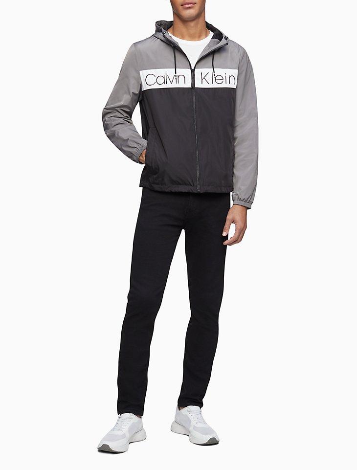 Nylon Logo Stripe Zip Hooded Jacket by Calvin Klein