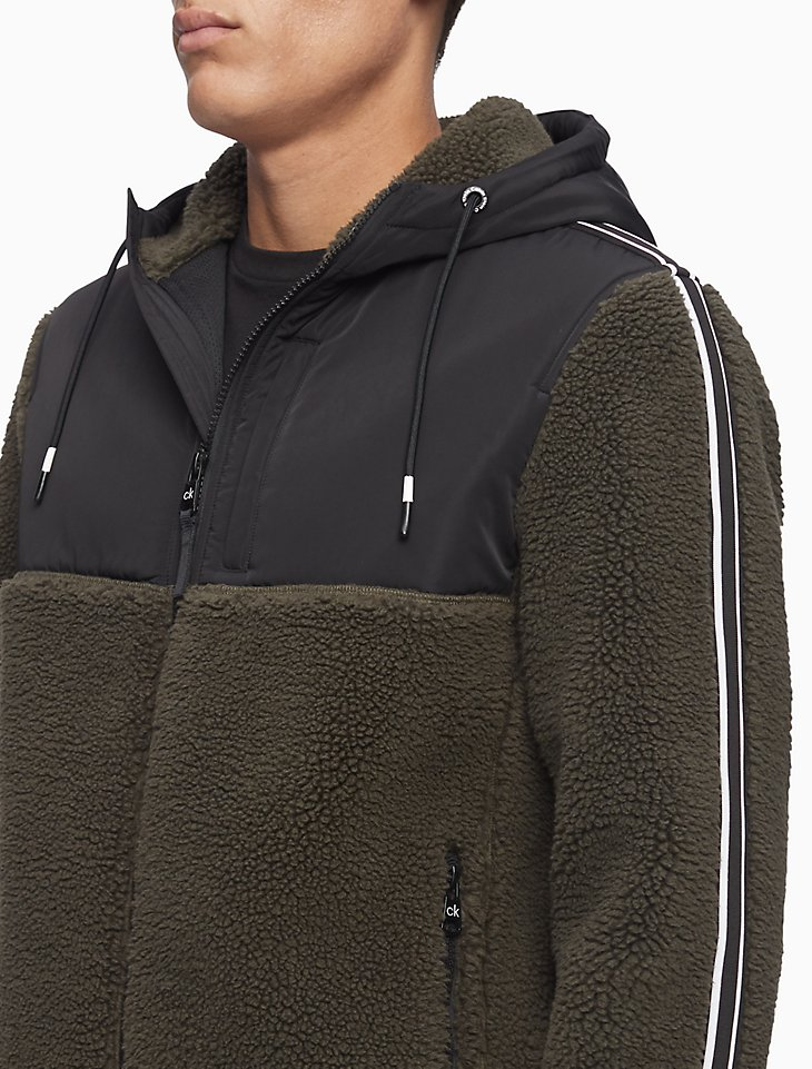 Calvin Klein Men's Sherpa Stripe Full Zip Hooded Jacket