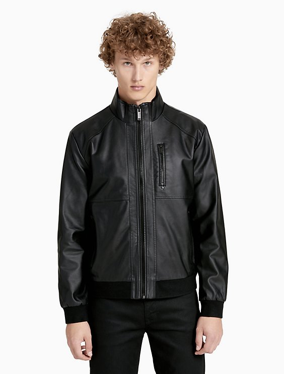 3aea946402b9 faux leather zip jacket | Calvin Klein