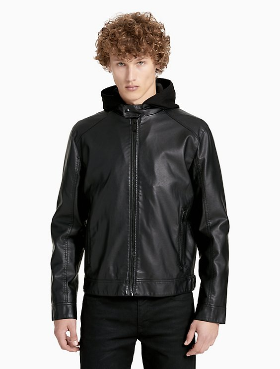 63cf2910 faux leather hooded jacket | Calvin Klein
