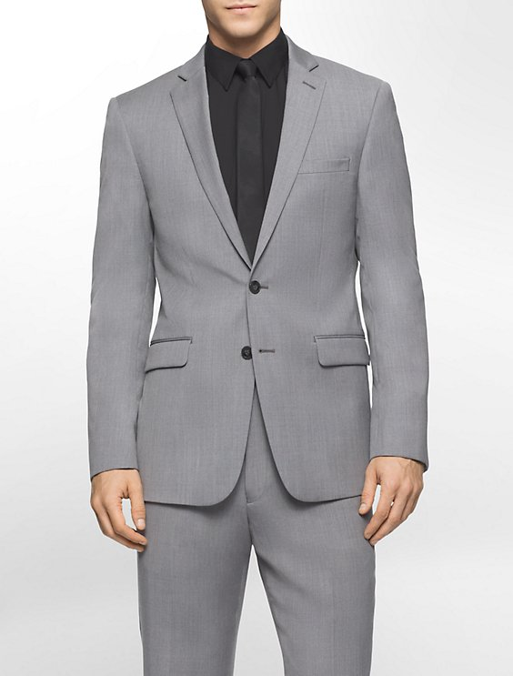 body slim fit melange wool suit jacket calvin klein