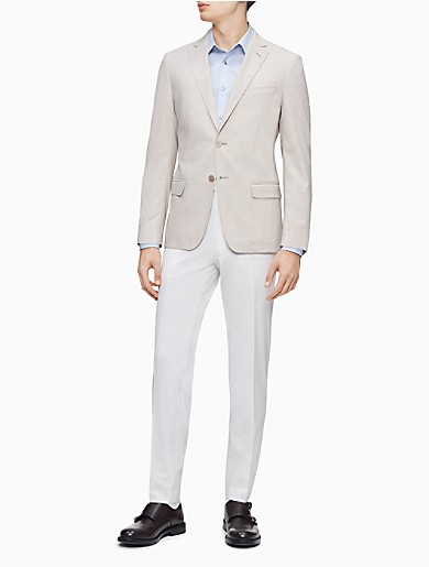 Image of Slim Fit Khaki Notch Lapel Jacket