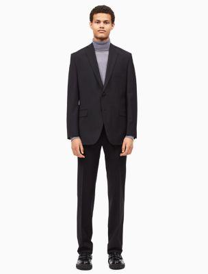 Royal blue dress shirt black suit