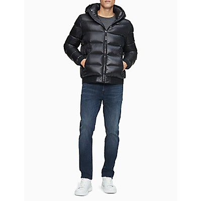 Solid Logo Down Blend Hooded Puffer Jacket