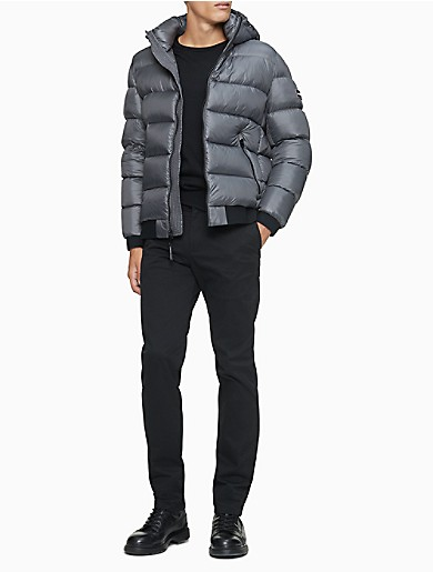 Image of Solid Logo Down Blend Hooded Puffer Jacket