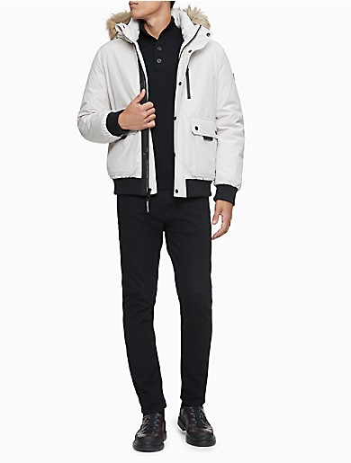 Image of Solid Faux Fur Hood Parka Bomber Jacket