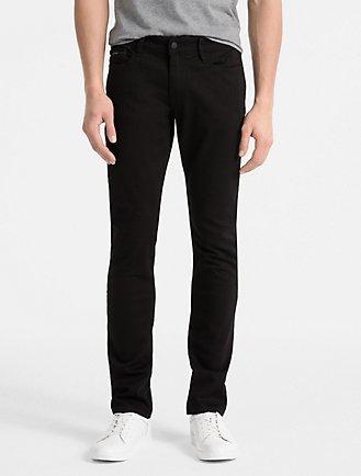 slim straight clean black jeans