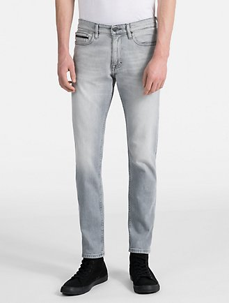 skinny fit bleached grey jeans
