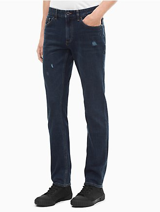 slim leg bronx blue distressed jeans